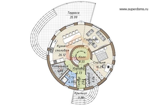 proekt-kruglogo-doma-s-ekspluatiruemoj-krovlej-plan-1-etazha